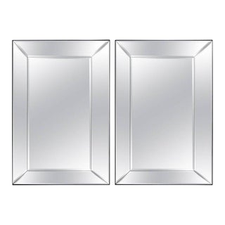 Pair of 5 Panel Beveled Mirrors For Sale