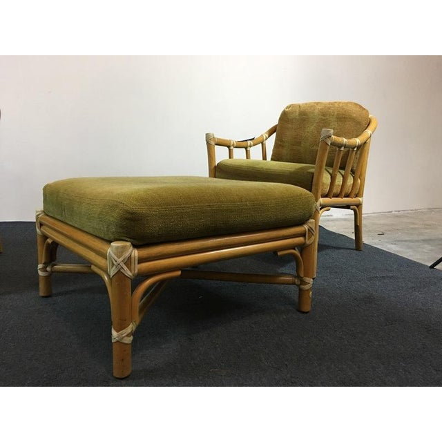 Vintage Bamboo Armchairs & Ottoman - Set of 3 - Image 9 of 9