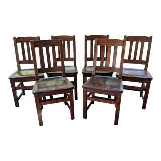 Antique Limbert Art & Crafts Mission Style Dining Chairs - Set of 6 For Sale