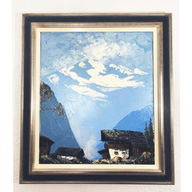 This painting of Swiss Alps and Cabin is a lovely example of European expressionism. The distance mountain are wonderfully...