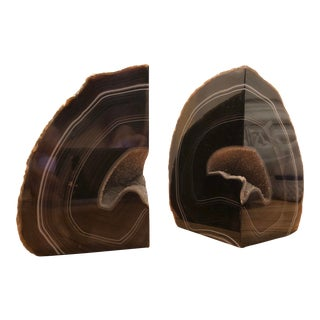 Brazilian Brown Agate Bookends - a Pair For Sale
