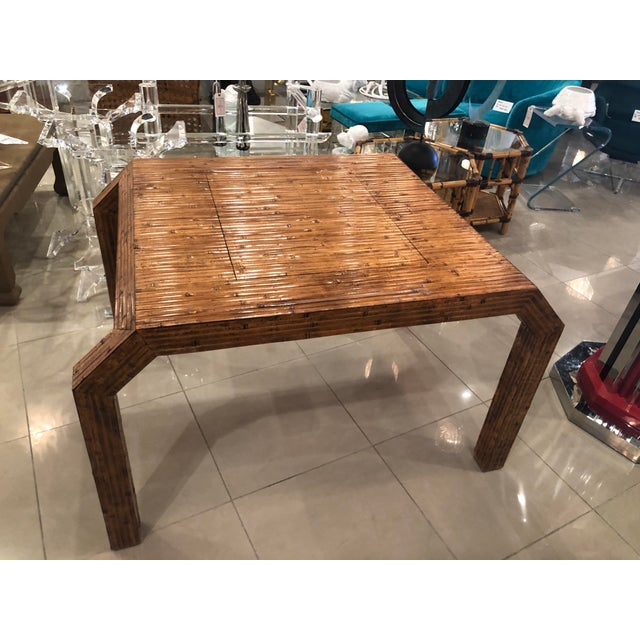 Vintage Hollywood Regency Palm Beach Flat Reed Bamboo Rattan Game Dining Table For Sale - Image 10 of 13
