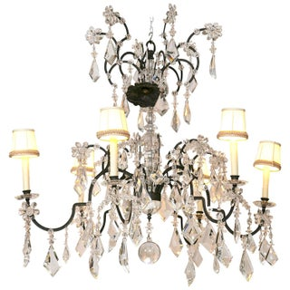 Holly Hunt Wrought Iron & Crystal Chandelier For Sale