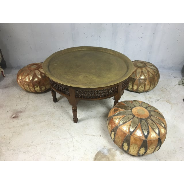 Morrocan Tray Table & Leather Poufs - Image 6 of 8