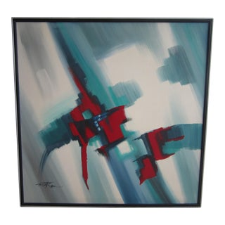 Vintage Mid-Century Modern Matson Abstract Painting, Framed