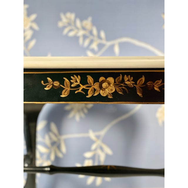 Wood Drexel Chinoiserie Black & Gold Side Table Pair With White Marble Tops, a Pair For Sale - Image 7 of 10
