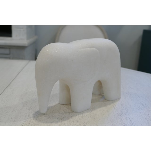 White White Marble Elephant Contemporary Figurine For Sale - Image 8 of 8