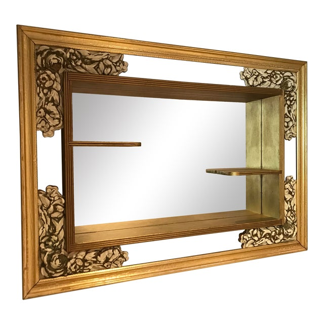 Mid-Century Modern Gilded Shadow Box Mirror With Carved Roses For Sale