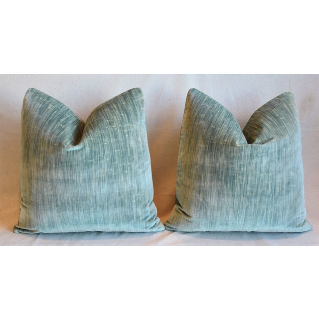 """Clarence House Velvet Fabric Feather/Down Pillows 21"""" Square - Pair For Sale In Los Angeles - Image 6 of 13"""