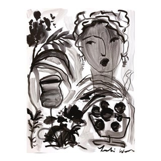 Flowers and Wine Black and White Painting by Leslie Weaver