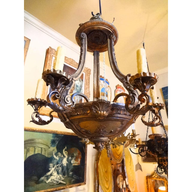 French Iron and Carved Wood Chandelier For Sale - Image 11 of 11