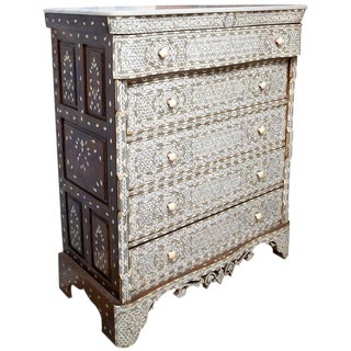 19th Century Syrian Five-Drawer Mother of Pearl Inlay Dresser For Sale