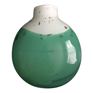 White and Green Studio Art Glass Vase Marked Cohen 91