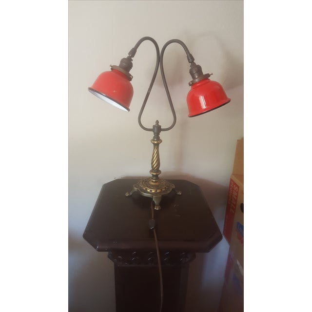 Vintage Industrial Two Arm Accent Lamp With Metal - Image 7 of 8