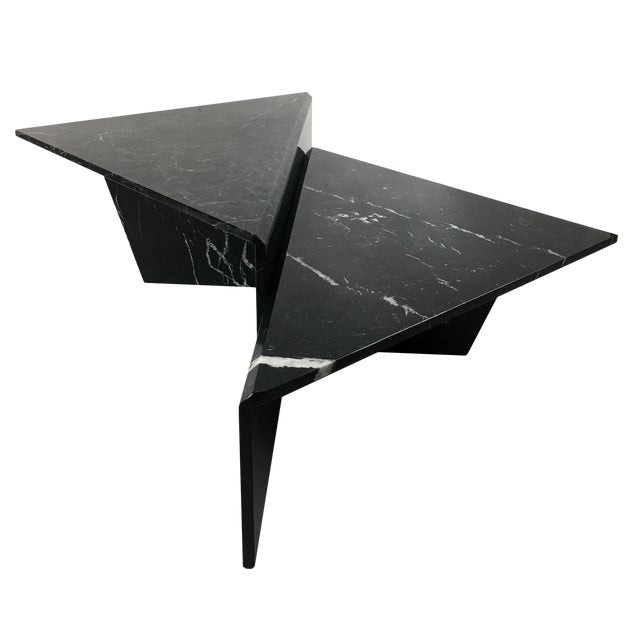 Large Sculptural Italian Marble Bi-Level Coffee Table For Sale