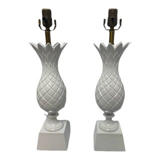 Vintage 1980s Custom Painted Table Lamps - a Pair For Sale