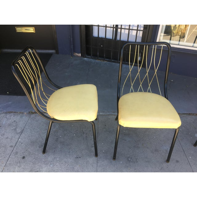Mid-Century Modern Mid-Century Black & Brass Chairs - Set of 4 For Sale - Image 3 of 8