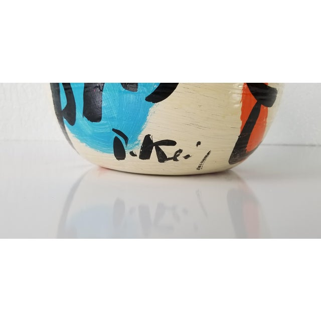 1980s Peter Keil Abstract Painted Colorful Vase For Sale - Image 5 of 8