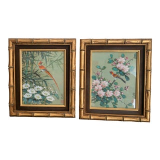 Original Gouache Watercolor Exotic Bird Flower Paintings on Cork Paper With Gold Leaf and Faux Bamboo and Velvet Frames - A Pair For Sale