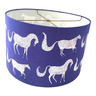 Vintage Blue Drum Lampshade With Lascaux Style Horse Design For Sale