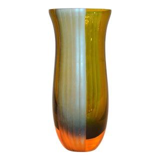Italian Mid-Century Modern Blue & Amber Art Glass Vase For Sale