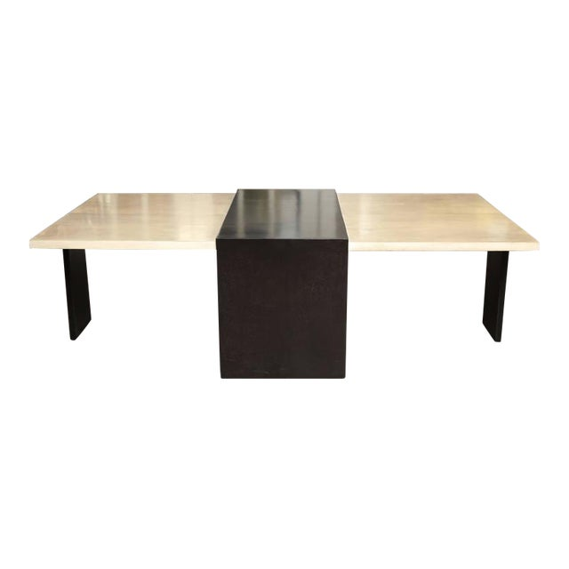 Custom Goatskin Two-Tone Cocktail Table For Sale