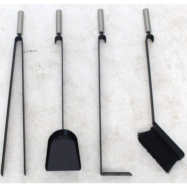 2000 - 2009 Modern Set of Fireplace Tools Black and Chrome For Sale - Image 5 of 9