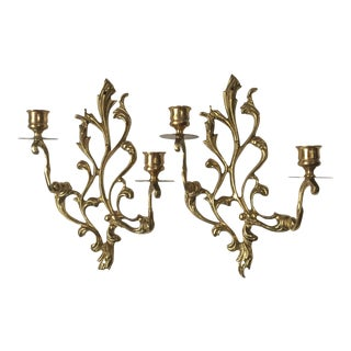 Scrolling Brass Candleholder Sconces - A Pair For Sale