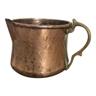 Antique Copper Pitcher With Riveted Brass Handle For Sale