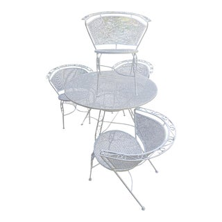 Vintage White Wrought Iron and Steel Mesh Patio Dining Set For Sale