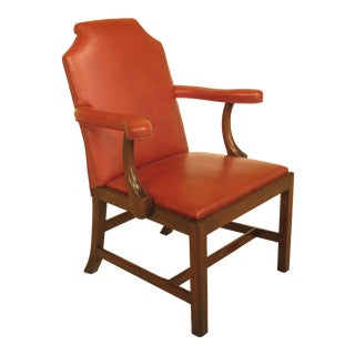 Kittinger CW-152 Colonial Willamsburg Leather Open Arm Mahogany Chair