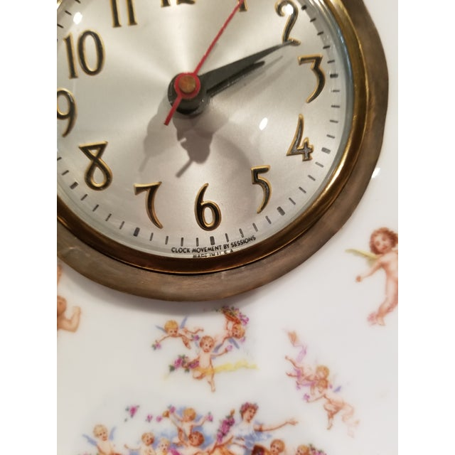 Decorative Antique Porcelain Clock With Cherubs For Sale - Image 9 of 10