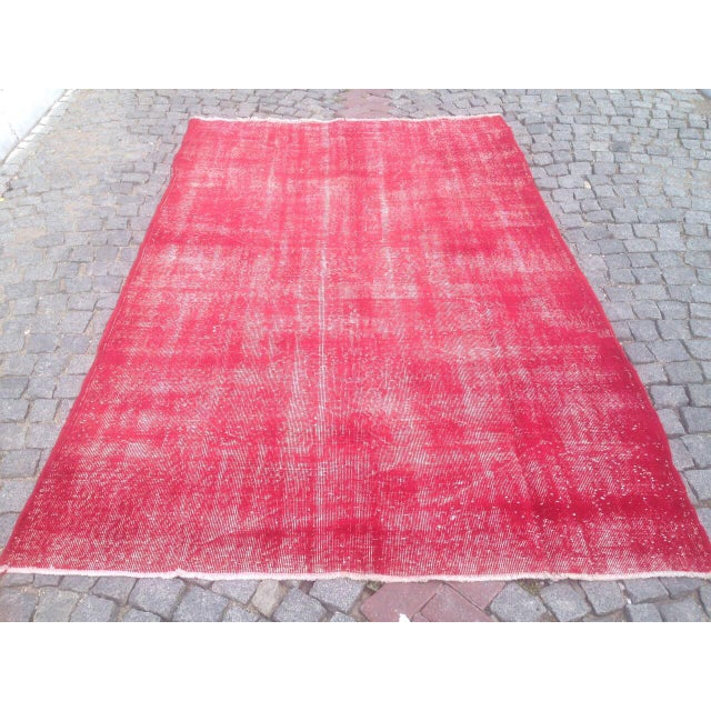 "Turkish Pink Overdyed Handknotted Rug -- 5'10"" x 9'10"" For Sale - Image 5 of 6"