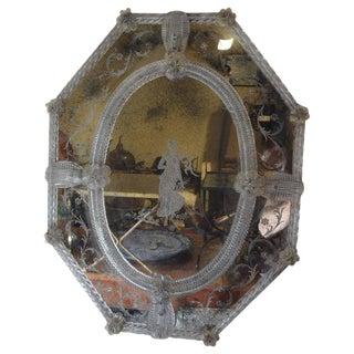 1920's Antique Octagonal Etched Venetian Mirror For Sale