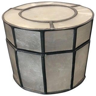 Boho Chic Round Capiz Shell Box For Sale
