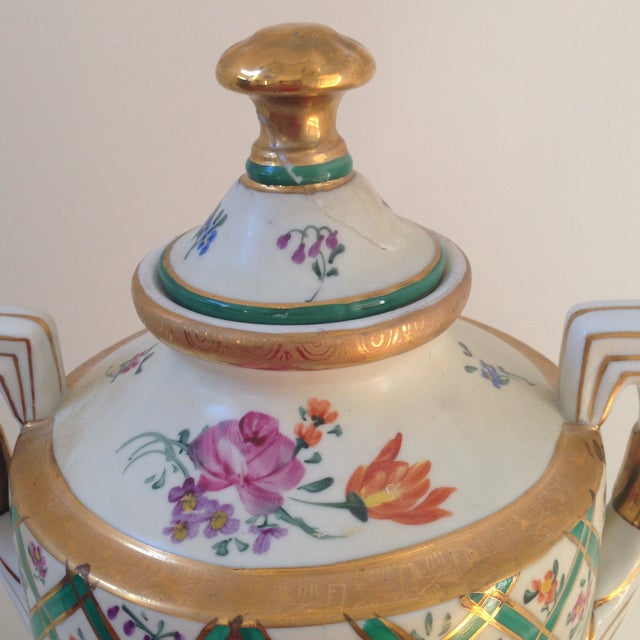 Floral Porcelain Urns - A Pair For Sale - Image 11 of 11
