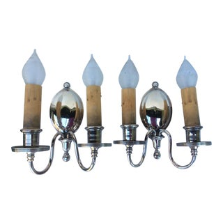 Antique Nickel Plated Wall Sconces - A Pair For Sale
