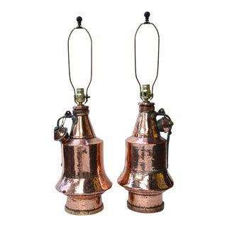 Antique Anatolian Copper Vessel Lamps - A Pair