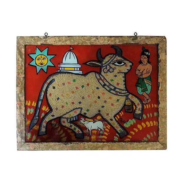 Beaded Indian Églomisé Cow Painting - Image 1 of 7