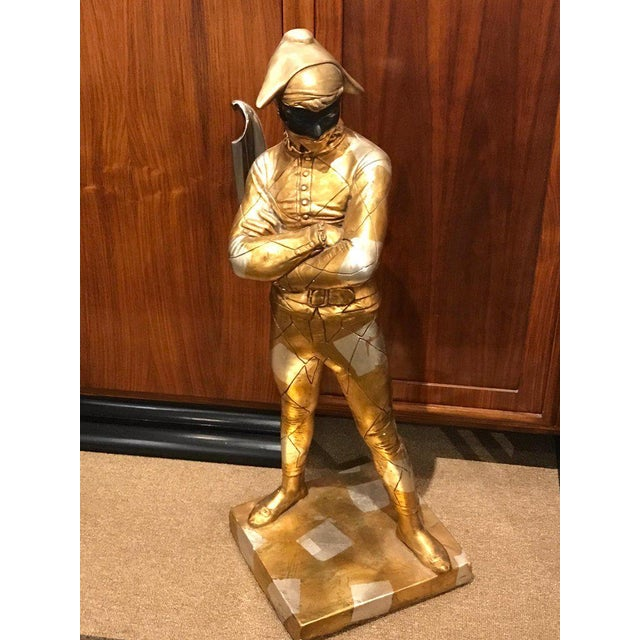 Hollywood Regency Standing Gold and Silvered Harlequin Sculpture For Sale - Image 9 of 12