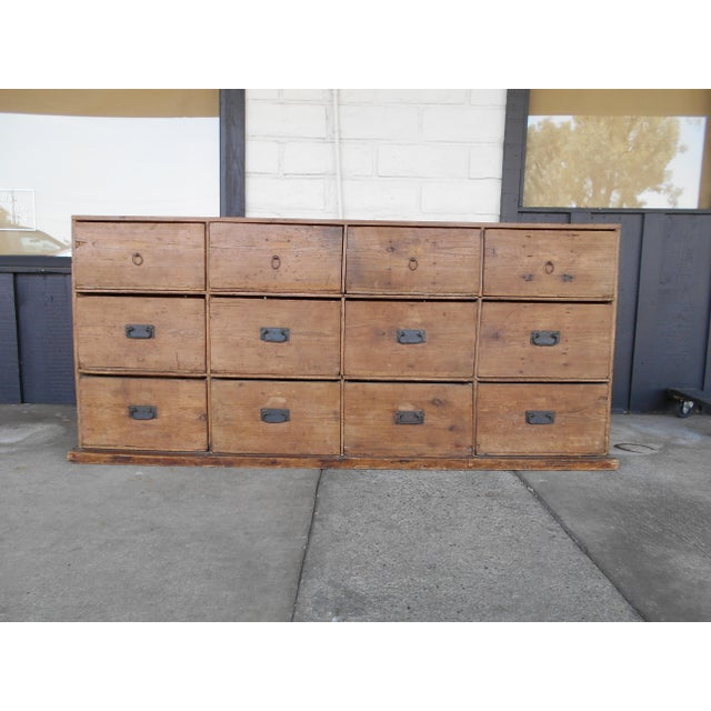 Hard to find, antique pine Apothecary cabinet with 12 drawers. Some drawers have dividers and some never had dividers....