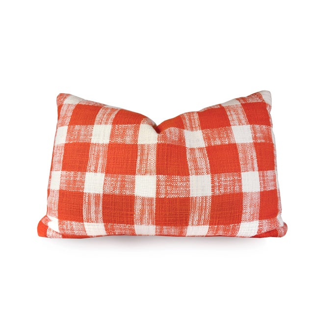 French Country Red White Gingham Pattern Cotton Throw/Toss Pillows - Set of 2 For Sale - Image 4 of 5