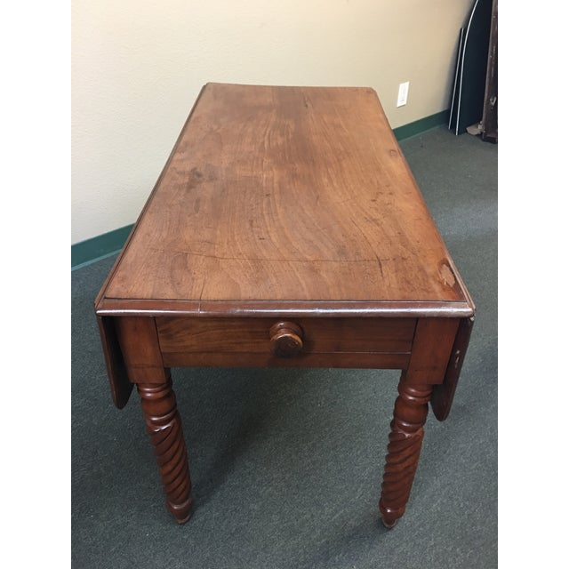 Cherry Wood Vintage Drop Leaf Table For Sale - Image 7 of 8
