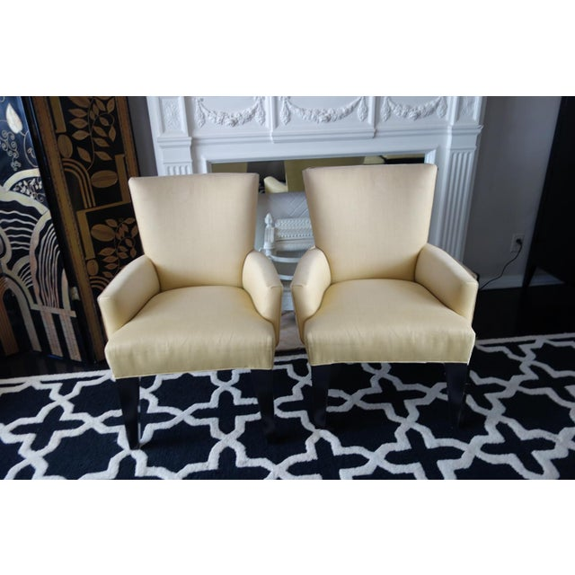 Contemporary Chartreuse Linen Armchairs - A Pair - Image 2 of 5