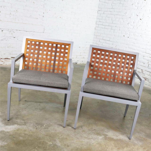 Pair of Aluminum and Teak Archetype Patio Chairs by Michael Vanderbyl for McGuire For Sale - Image 9 of 13