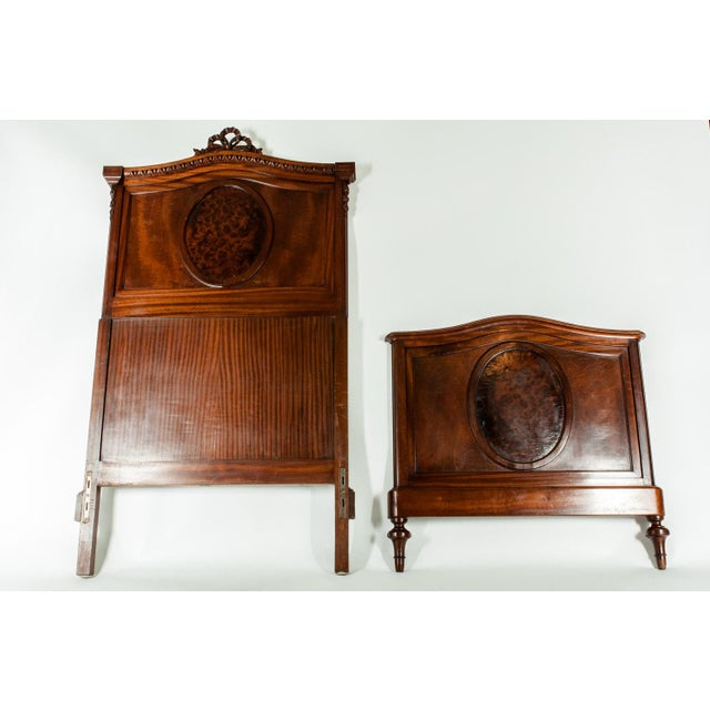 19th C. French Burl Walnut Single Beds For Sale - Image 4 of 8