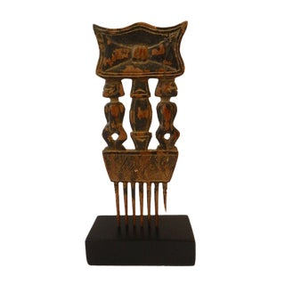 Superb Old Ashanti Marriage Comb on Stand Ghana For Sale