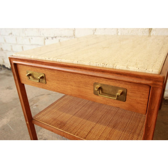 Brass Gerry Zanck for Gregori Mid-Century Walnut & Travertine Side Table For Sale - Image 7 of 11