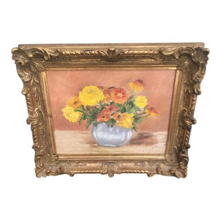 Vintage Still Life Painting in Ateliers Armand Dutry Carved Gilt Frame Belgium For Sale