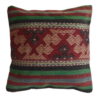 "Hand-Woven Kilim Rug Pillow Cover Turkish Throw Sham 16"" X 16"" For Sale"